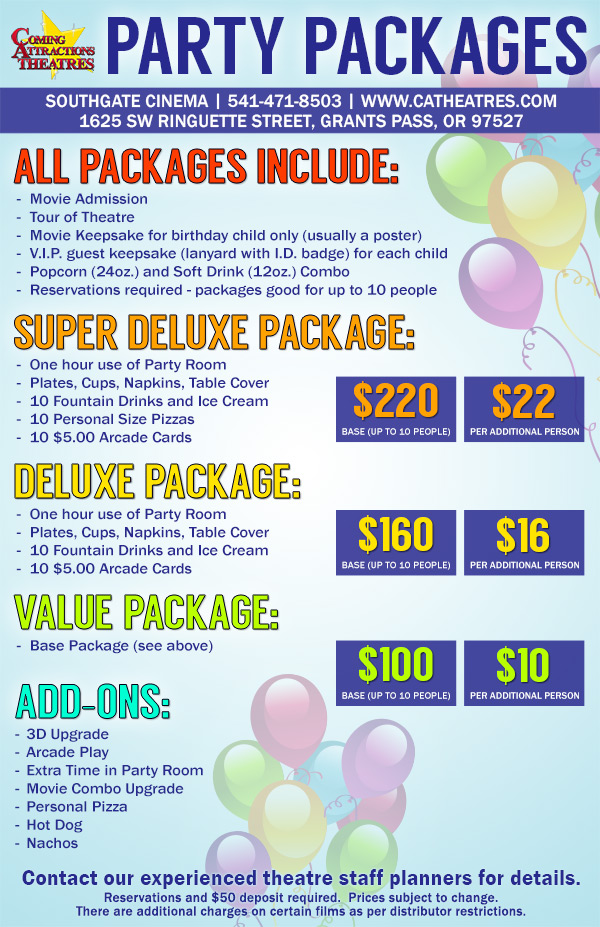 Party Package Southgate Cinema