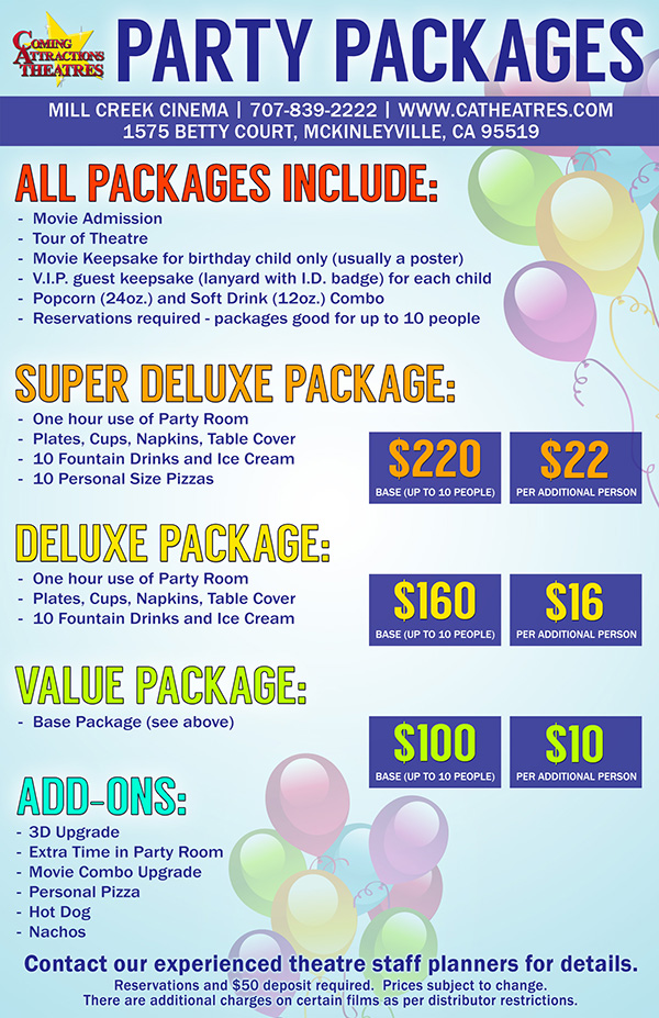 Party Package Mill Creek Cinema